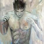 Boxeur-n°04---acrylique-et-huile-sur-toile---95-x-75-cm-