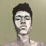 Portrait n°27 - acrylique et huile sur toile - 50 x 50 cm