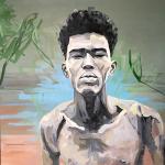Portrait n°45 - huile sur toile - 100 x 100 cm