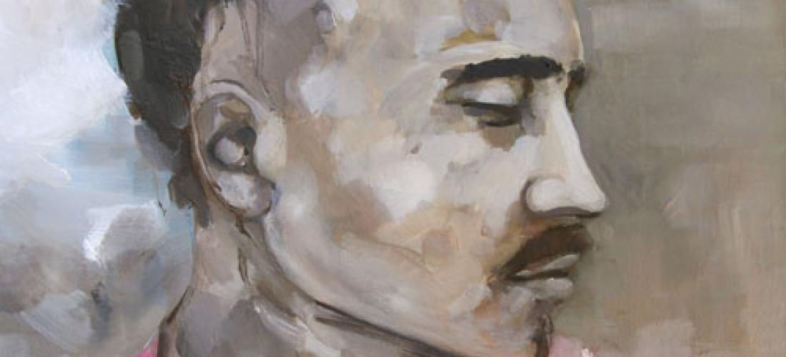 Portrait n°23 – acrylique et huile sur toile – 40 x 40 cm