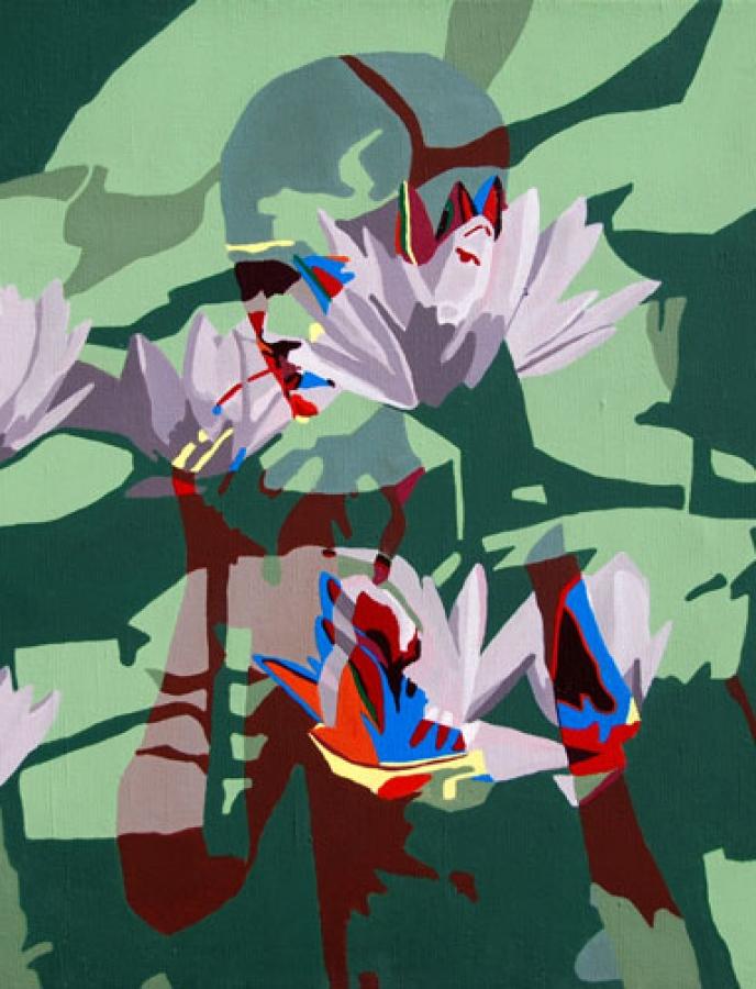 Image-double n°4 – acrylque sur toile – 50 x 50 cm