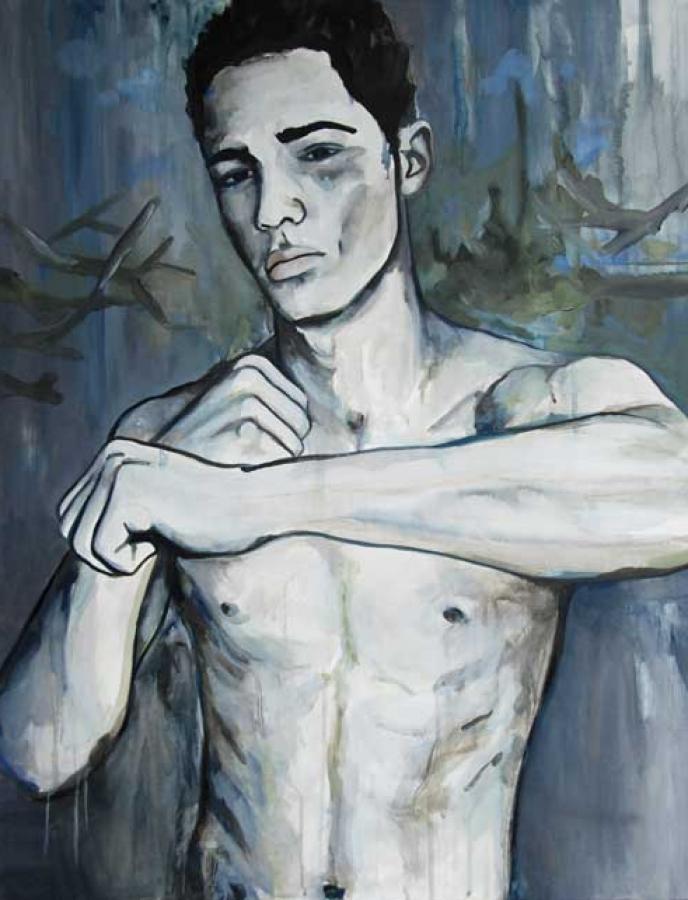 Boxeur n°02 – acrylique et huile sur toile – 90 x 70 cm