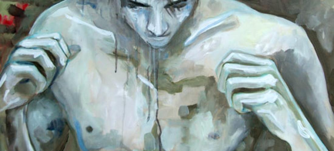 Boxeur n°3 – acrylique et huile sur toile – 90 x 70 cm