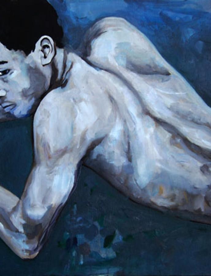 Boxeur n°01 – acrylique et huile sur toile – 54 x 65 cm