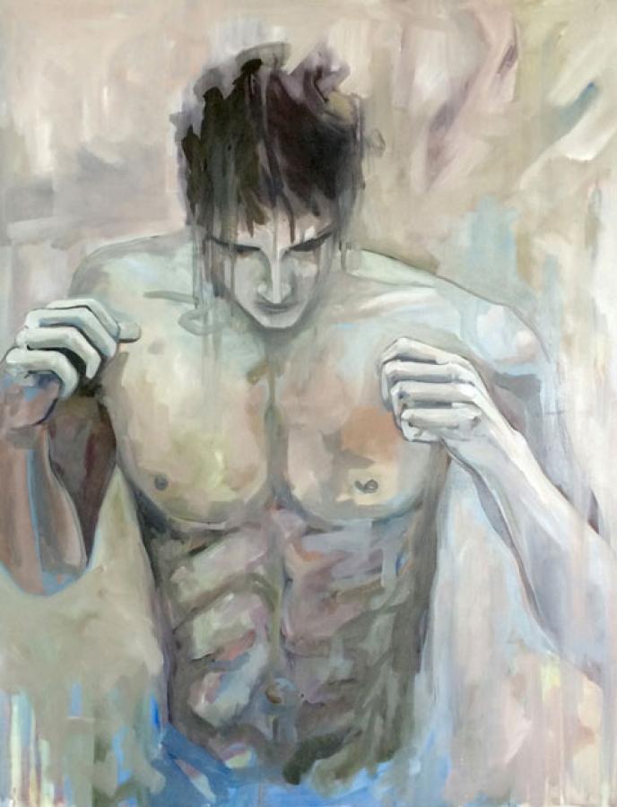 Boxeur n°04 – acrylique et huile sur toile – 95 x 75 cm