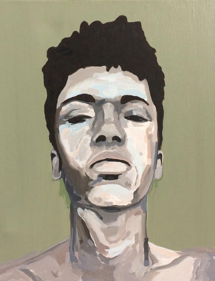 Portrait n°27 – acrylique et huile sur toile – 50 x 50 cm